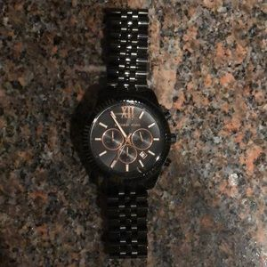 Michael Kors black and rose gold watch
